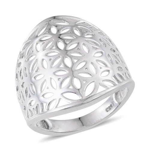 Platinum Overlay Sterling Silver Floral Ring, Silver wt 5.12 Gms.