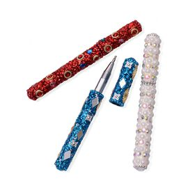 Hand Crafted Red, Blue and White Set of 3 Crystal Embellished Pens