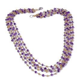 Jewels of India Amethyst, Citrine Necklace (Size 20) in Platinum Overlay Sterling Silver 73.850 Ct.