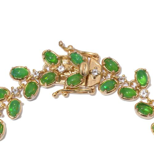 Green Ethiopian Opal (Ovl), White Topaz Bracelet in 14K Gold Overlay Sterling Silver (Size 7.5) 11.000 Ct.