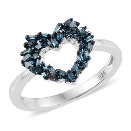 Blue Diamond (Bgt) Heart Ring in Platinum Overlay Sterling Silver 0.250 Ct.