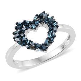 Blue Diamond (Bgt) Heart Ring in Platinum Overlay Sterling Silver 0.250 Ct.
