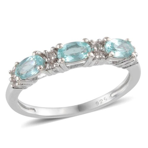 Paraibe Apatite (Ovl), White Topaz Ring in Platinum Overlay Sterling Silver 1.750 Ct.