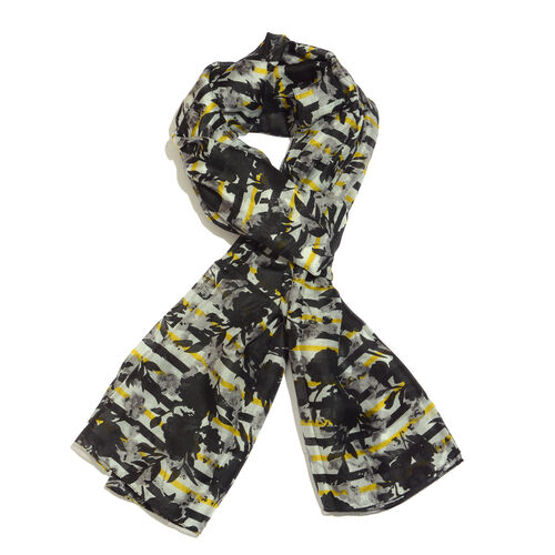 100% Mulberry Silk Floral Contour Printed Black, White, Yellow and Multi Colour Scarf (Size 180x100 Cm)