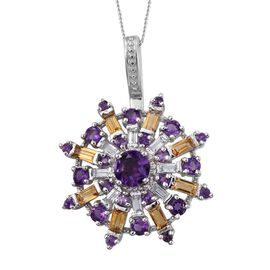 GP Amethyst (Rnd 0.65 Ct), Citrine, White Topaz and Kanchanaburi Blue Sapphire Snowflake Pendant With Chain in Platinum Overlay Sterling Silver 3.500 Ct.