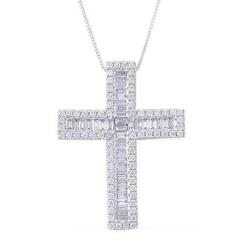 ILIANA 18K W Gold IGI Certified Diamond (Bgt) (SI/G-H) Cross Pendant with Chain 2.000 Ct