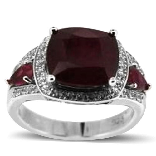 African Ruby (Cush 6.15 Ct), White Topaz Ring in Rhodium Plated Sterling Silver 9.250 Ct.