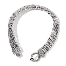 AAA White Austrian Crystal Necklace (Size 16) in Silver Tone