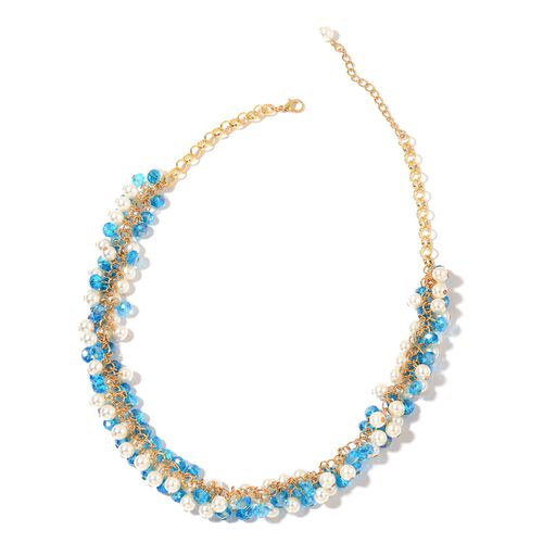Simulated Aquamarine and Simulated Pearl Necklace (Size 20 with 2.5 inch Extender) in Yellow Gold Tone