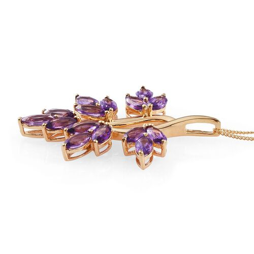 Lusaka Amethyst (Mrq) Leaves Pendant With Chain in 14K Gold Overlay Sterling Silver 4.750 Ct.