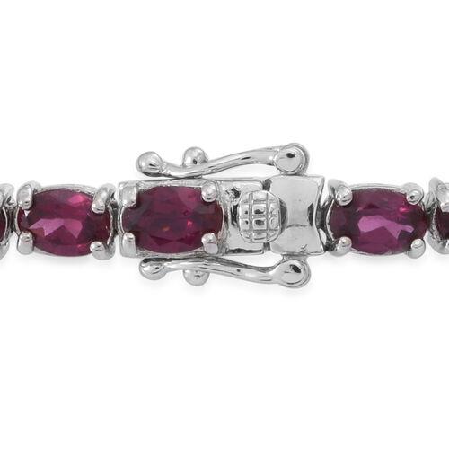 AA Rhodolite Garnet (Ovl) Bracelet (Size 8) in Rhodium Plated Sterling Silver 16.500 Ct.