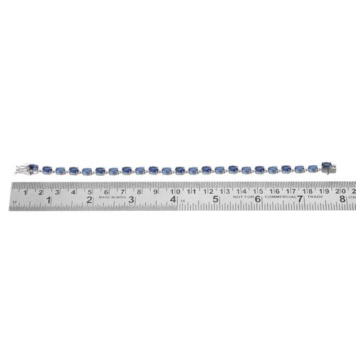 Himalayan Kyanite (Ovl) Bracelet in Platinum Overlay Sterling Silver (Size 7.5) 13.500 Ct.