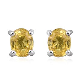 Web Exclusive 9K W Gold Yellow Sapphire (Ovl) Stud Earrings 1.000 Ct.