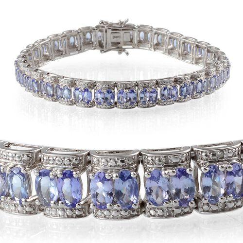 AA Tanzanite (Ovl), Diamond Bracelet in Platinum Overlay Sterling Silver (Size 8) 14.020 Ct.