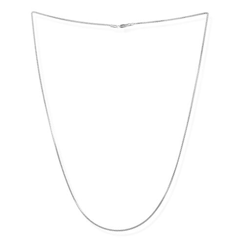 Rhodium Plated Sterling Silver Diamond Cut Wheat Chain (Size 24), Silver wt 3.80 Gms.