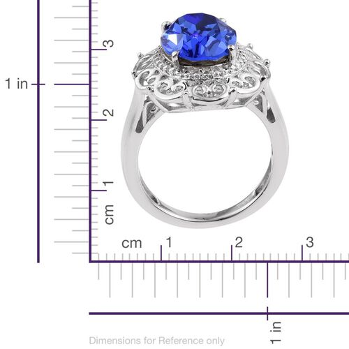J Francis Crystal from Swarovski - Sapphire Colour Crystal (Ovl) Solitaire Ring in ION Plated Platinum Bond