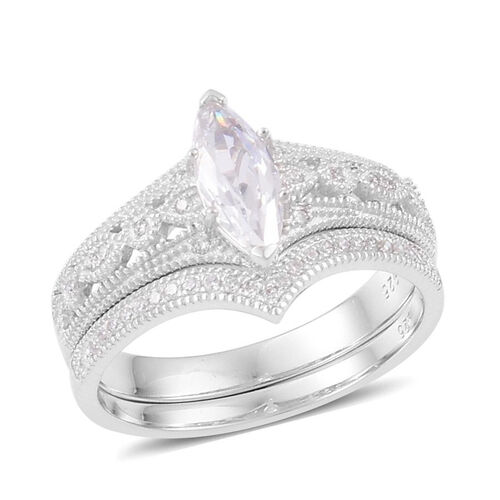 AAA Simulated White Diamond 2 Ring Set in Platinum Overlay Sterling Silver