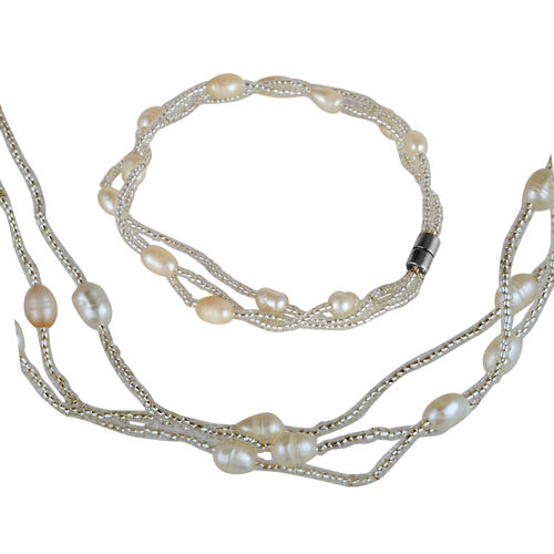 Close Out Deal Fresh Water White Pearl Bracelet (Size 7) and Necklace (Size 18) in Silver Bond