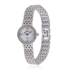 GENOA Japanese Movement White Dial with White Austrian Crystal Water Restinat Watch in Silver Tone with Stainless Steel Back and Chain Strap