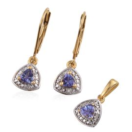 Tanzanite (Trl), Diamond Pendant and Lever Back Earrings in 14K Gold Overlay Sterling Silver 0.750 Ct.