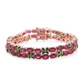 GP AAA African Ruby (Ovl), Russian Diopside and Kanchanaburi Blue Sapphire Bracelet (Size 7.25) in Rose Gold Overlay Sterling Silver  30.000 Ct.