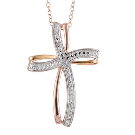 Diamond (Rnd) Cross Pendant with Chain in Yellow Gold, Rose Gold and Platinum Overlay Sterling Silver