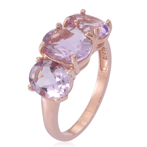 Rose De France Amethyst (Ovl 2.30 Ct) 3 Stone Ring in Rose Gold Overlay Sterling Silver 5.500 Ct.