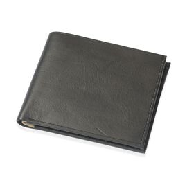 (Option 1) Genuine Leather Black Colour Wallet with Beige Colour Inside