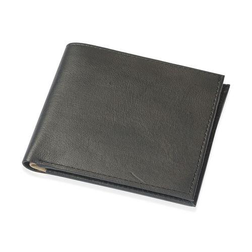(Option 1) Genuine Leather Black Colour Wallet with Beige Colour Inside