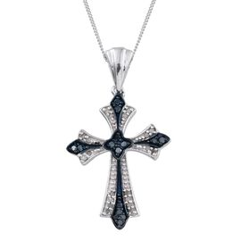 Blue Diamond (Rnd), White Diamond Cross Pendant With Chain in Platinum Overlay Sterling Silver 0.250 Ct.