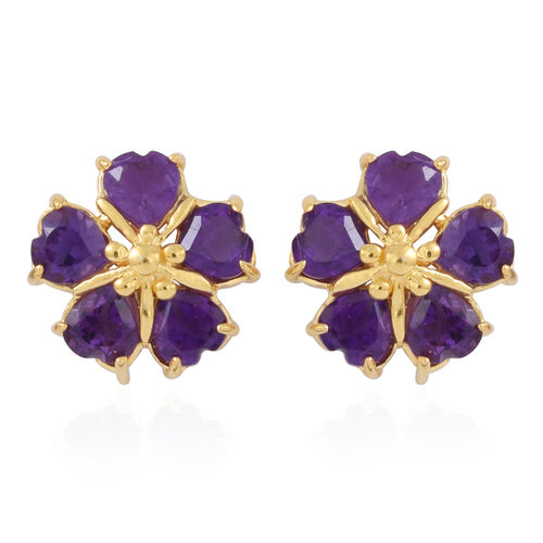 Amethyst (Hrt) Floral Stud Earrings (with Push Back) in 14K Gold Overlay Sterling Silver 2.000 Ct.