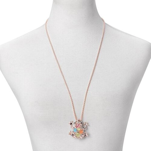 Simulated Multi Colour Cats Eye, White and Black Austrian Crystal Frog Pendant with Chain (Size 28) in Rose Gold Tone