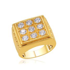 J Francis - 14K Gold Overlay Sterling Silver (Rnd) Ring Made with SWAROVSKI ZIRCONIA 2.250 Ct.