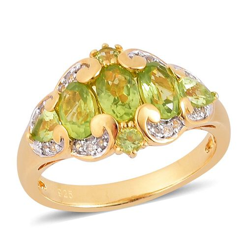 Hebei Peridot (Ovl), White Topaz Ring in Yellow Gold Overlay Sterling Silver 2.100 Ct.