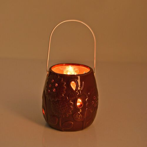 Chocolate Colour Sunflower Pattern Ceramic Lantern