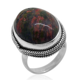Royal Bali Collection Unakite (Ovl) Ring in Sterling Silver 16.250 Ct.