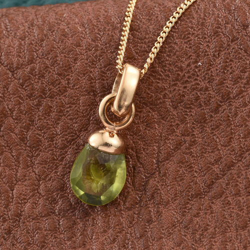 AA Hebei Peridot Pendant With Chain in 14K Gold Overlay Sterling Silver 1.490 Ct.