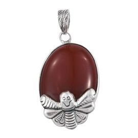 Limited Edition Rare Size AA Red Agate (Ovl 30X25) Honey Bee Pendant in Sterling Silver 36.350 Ct.