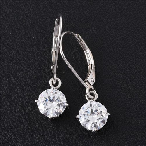 9K White Gold Lever Back Earrings Made with SWAROVSKI ZIRCONIA