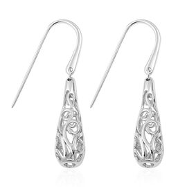 LucyQ Air Drip Hook Earrings in Rhodium Plated Sterling Silver 6.57 Gms.