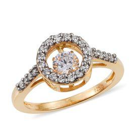 J Francis - 14K Gold Overlay Sterling Silver (Rnd) Ring Made with Dancing SWAROVSKI ZIRCONIA