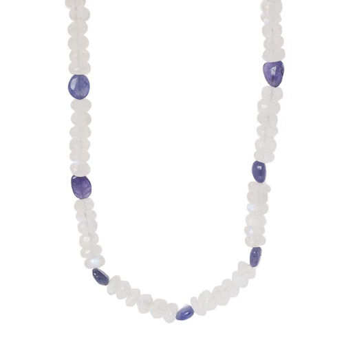 Rainbow Moonstone (Rnd), Tanzanite Necklace in Sterling Silver 147.00 Ct.
