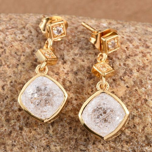 White Crackled Quartz (Cush), White Topaz Earrings (with Push Back) in 14K Gold Overlay Sterling Silver 4.250 Ct.