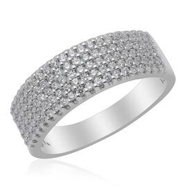 J Francis - Platinum Overlay Sterling Silver (Rnd) Ring Made with SWAROVSKI ZIRCONIA  0.870 Ct.