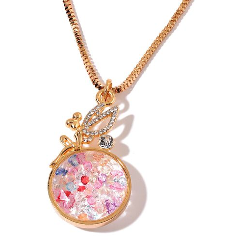 Multi Colour Austrian Crystal and White Austrian Crystal Pendant With Chain in Gold Tone