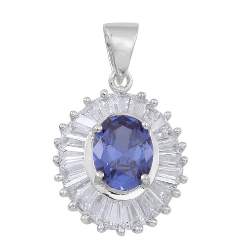 ELANZA AAA Simulated Tanzanite (Ovl), Simulated White Diamond Pendant in Rhodium Plated Sterling Silver