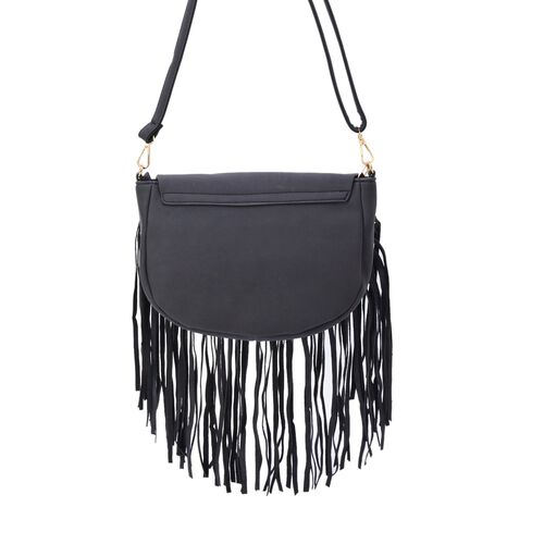Black Colour Crossbody Bag with Fringes and Adjustable and Removable Shoulder Strap (Size 25.5x17.5x8.5 Cm)