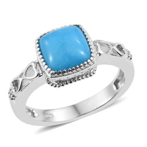 Arizona Sleeping Beauty Turquoise (Cush) Solitaire Ring in Platinum Overlay Sterling Silver 2.250 Ct.
