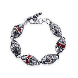 Red and White Austrian Crystal Skull Head Bracelet (Size 7.5) in Stainless Steel