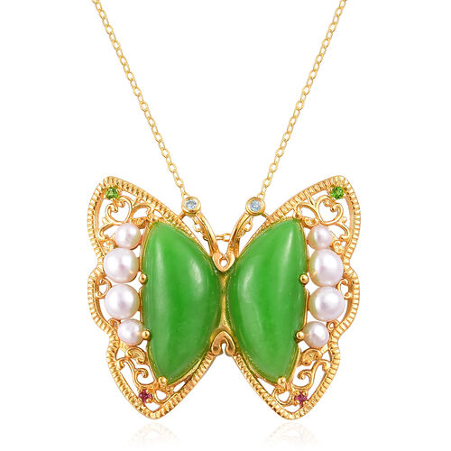Green Jade, Fresh Water Pearl, Rhodolite Garnet, Swiss Blue Topaz and Russian Diopside Butterfly Pendant With Chain in Yellow Gold Overlay Sterling Silver 19.870 Ct.